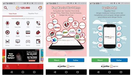 Aplikasi Excite Points Penghasil Pulsa dan Penghasil Uang Terbaik 2019