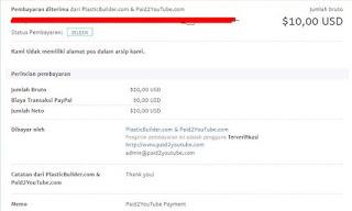 Bukti Pembayaran Paypal dari Paid2YouTube