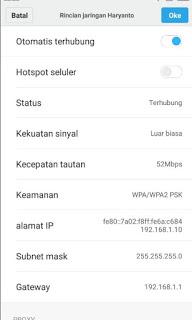 Cek IP Address Melalui Menu Wifi pada Smartphone