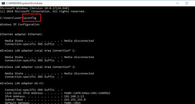 Cek IP Address di Laptop Melalui Command Prompt