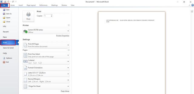 Cara Mencetak Dokumen di Microsoft Word