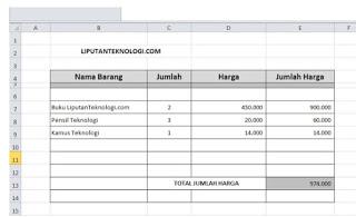 Hasil Nota Penjualan dengan Excel