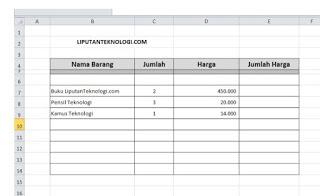 Cara Membuat Nota Penjualan Dengan Excel